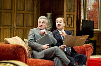 0405304 © Granger - Historical Picture ArchiveTHEATER PERFORMANCE.    'Yes, Prime Minister' by Antony Jay and Jonathan Lynn, showing Henry Goodman as Sir Humphrey Appleby and David Haig as Prime Minister Jim Hacker, on stage at the Gielgud Theatre. Directed by Jonathan Lynn (opening 17-09-10). Full credit: Tristram Kenton / Lebrecht Music & Arts / Granger, NYC -- All rights reserved.