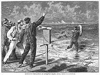 0090792 © Granger - Historical Picture ArchiveNEW YORK: ROCKAWAY BEACH.   Life-saving precautions at Rockaway Beach, Queens, New York. Wood engraving, 1877.
