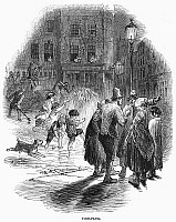 0093432 © Granger - Historical Picture ArchiveLONDON: FIRE HYDRANT, 1858.   Children enjoying the spray from a fire hydrant on a London street. Wood engraving, English, 1858.