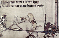 0116855 © Granger - Historical Picture ArchiveTRAINED HORSE, 14th CENTURY.   A man with a performing horse and ape. Detail of an illumination by Jehan de Grise in the 'Romance of Alexander,' c1340.