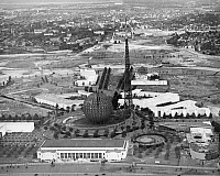 0031439 © Granger - Historical Picture ArchiveWORLD'S FAIR, 1939.   The Trylon and Perisphere of the World's Fair under construction at Flushing Meadow Park, New York, 1939.