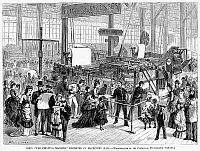 0032519 © Granger - Historical Picture ArchiveHOE WEB PRINTING PRESS.   Printing newspapers at the Philadelphia Centennial Fair in 1876. Wood engraving from a contemporary American newspaper.