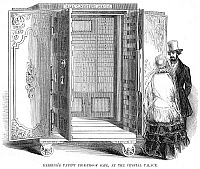 0078103 © Granger - Historical Picture ArchiveCRYSTAL PALACE, 1853.   'Herring's Patent Fire-Proof Safe, at the Crystal Palace,' during the Exhibition of the Industry of All Nations, held at the Crystal Palace, New York, in 1853. Wood engraving from a contemporary American newspaper.