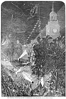 0087408 © Granger - Historical Picture ArchiveCENTENNIAL FAIR, 1876.   Independence Hall illuminated on the Fourth of July during the 1876 Centennial Fair in Philadelphia, Pennsylvania. Wood engraving from a contemporary American newspaper.
