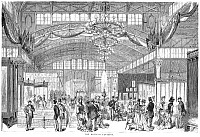 0087409 © Granger - Historical Picture ArchiveCENTENNIAL FAIR, 1876.   The Women's Pavilion at the 1876 Centennial Fair in Philadelphia, Pennsylvania. Contemporary American wood engraving.