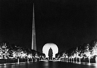 0093573 © Granger - Historical Picture ArchiveWORLD'S FAIR, 1939.   The Trylon and Perisphere at the 1939 World's Fair at New York. Photographed by George Enell.