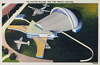 0093603 © Granger - Historical Picture ArchiveNEW YORK WORLD'S FAIR.   Aviation building at the 1939 World's Fair at New York. Contemporary American postcard.