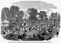 0093653 © Granger - Historical Picture ArchiveBRITAIN: COUNTRY FAIR.   Grand fancy bazaar at Orleans House, Twickenham, England, in aid of the French Societe de Bienfaisance. Wood engraving, 1864.