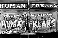 0122694 © Granger - Historical Picture ArchiveVERMONT: SIDESHOW, 1941.   Banner advertising the main sideshow of 'Human Freaks' at the Vermont State Fair in Rutland. Photograph by Jack Delano, September 1941.