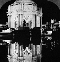 0172709 © Granger - Historical Picture ArchivePANAMA-PACIFIC EXPOSITION.   The dome of the Palace of Fine Arts at night from across the Fine Arts Lagoon, at the Panama-Pacific Exposition in San Francisco, California. Stereograph, 1915.