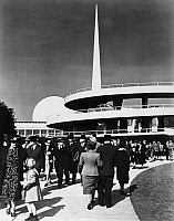0259465 © Granger - Historical Picture ArchiveNEW YORK WORLD'S FAIR.   The Trylon and Perisphere at the New York World' Fair in Flushing Meadows, Queens, New York. Photograph by F.S. Lincoln, 1939.