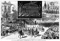 0267619 © Granger - Historical Picture ArchiveCENTENNIAL FAIR, 1876.   Parade passing Independence Hall in Philadelphia, Pennsylvania, during the Centennial Exposition, 4 July 1876. Insets show a fireworks display and a detail of the parade with the Eutaw Flag. Contemporary American wood engraving.