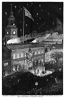 0267621 © Granger - Historical Picture ArchiveCENTENNIAL FAIR, 1876.   Philadelphia mayor William Stokley raising the old colonial American flag during a ceremony in front of Independence Hall in Philadelphia, Pennsylvania, during the Centennial Exposition, 4 July 1876. Contemporary American wood engraving.