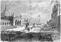 0267628 © Granger - Historical Picture ArchiveCENTENNIAL FAIR, 1876.   Opening ceremonies at the Centennial Fair in Philadelphia, Pennsylvania, 10 May 1876. Contemporary American wood engraving.