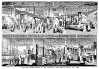 0370665 © Granger - Historical Picture ArchiveCRYSTAL PALACE, 1854.   Booths of the United States, Italy, and the British Colonies at the New York Crystal Palace for the Exhibition of the Industry of All Nations. Wood engraving, American, 1854.