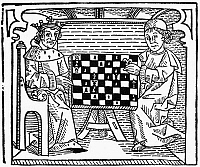 0015614 © Granger - Historical Picture ArchiveCESSOLIS: CHESS, c1483.   Woodcut from Jacobus de Cessolis' 'The Game and Playe of the Chesse.' Printed by William Caxton, c1483.