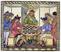 0088749 © Granger - Historical Picture ArchiveCESSOLIS: CHESS, 1493-94.   Woodcut frontispiece to Jacobus de Cessolis' 'Libro di Giuoco di Scacchi' ('Book of the Game of Chess'), printed at Florence, Italy, 1493-94.