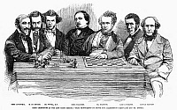 0094219 © Granger - Historical Picture ArchiveCHESS PLAYERS, 1855.   Chess celebrities at a meet in England. Wood engraving, 1855.