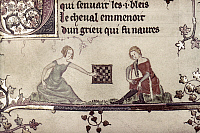 0116852 © Granger - Historical Picture ArchiveCHECKERS, 14th CENTURY.   A lady and a page playing a game of checkers. Detail of an illumination by Jehan de Grise in the 'Romance of Alexander,' c1340.
