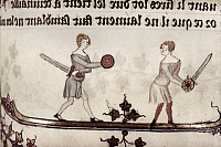 0116853 © Granger - Historical Picture ArchiveSWORD FIGHT, 14th CENTURY.   Two men sword fighting as a game. Detail of an illumination by Jehan de Grise in the 'Romance of Alexander,' c1340.