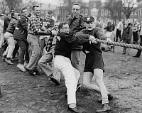 0259640 © Granger - Historical Picture ArchiveTUG OF WAR, c1957.   Game of tug of war between freshman and sophomore students at Dartmouth College in Hanover, New Hampshire. Photograph, c1957.