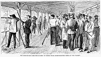 0266140 © Granger - Historical Picture ArchiveSCHUTZENFEST, 1868.   'The Schutzenfest - Shooting-gallery at Jones's Wood - Sharp-shooters firing at the targets.' Engraving, 1868.