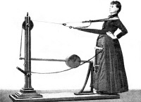 0355114 © Granger - Historical Picture ArchiveEXERCISE MACHINE, 1896.   'Straightening the Body.' Curative gymnastics machine invented by Dr. Gustave Zander. Illustration, 1896.