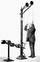 0355116 © Granger - Historical Picture ArchiveEXERCISE MACHINE, 1896.   'Lowering and Bending the Arms.' Curative gymnastics machine invented by Dr. Gustave Zander. Illustration, 1896.