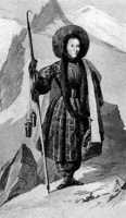 0409573 © Granger - Historical Picture ArchiveHENRIETTE D'ANGEVILLE   (1794-1871). French mountain climber known as the fiancee of Mont Blanc. First woman to reach the Mont Blanc summit by her own strength in 1838. Engraving. Full credit: Tallandier - Rue des Archives / Granger, NYC -- All Rights Reserved.