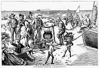 0089210 © Granger - Historical Picture ArchiveCHOWDER PARTY, 1873.   A chowder party on Fire Island, New York. Wood engraving, American, 1873.