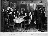 0116604 © Granger - Historical Picture ArchiveENGLAND: POETS, 1815.   A breakfast party in 1815 at the home of the poet Samuel Rogers (1763-1855). Among the guests are, from left: William Wordsworth, Robert Southey, Samuel Coleridge, Washington Irving and Lord Byron. After an engraving by Charles Mottram (1807-1876).