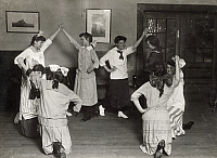 0117919 © Granger - Historical Picture ArchiveHINE: FOLK DANCING, 1916.   Members of the Women's Union in Fall River, Massachusetts, folk dancing together. Photograph by Lewis Hine, 1916.
