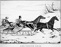 0079918 © Granger - Historical Picture ArchiveAMERICA: SLEIGHING, 1848.   'The Sleigh Race.' Lithograph by Currier & Ives, 1848.