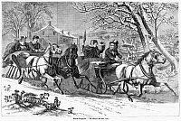 0268525 © Granger - Historical Picture ArchiveSLEIGHING, 19th CENTURY.   Sleighing in the countryside. Engraving from the German language edition of Frank Leslie's Illustrated Newspaper, mid or late 19th century.