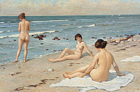 0433825 © Granger - Historical Picture ArchiveBEACH SCENERY, C1920.   'Beach Scenery with Bathing Women.' Oil on canvas, copy after Paul Fischer (1860-1934), c1920.