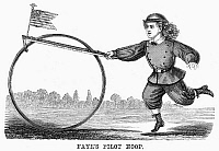 0093428 © Granger - Historical Picture ArchiveBOY AND HOOP, 1867.   A boy playing with Faye's Pilot Hoop. Wood engraving, American, 1867.