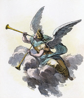 0047402 © Granger - Historical Picture ArchiveTRUMPETING ANGEL.   Wood engraving, French, 19th century.