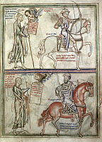 0026389 © Granger - Historical Picture ArchiveFOUR HORSEMEN, 1250.   Detail of white and red horses of the Four Horsemen of Apocalypse, from English manuscript illumination, c1250.