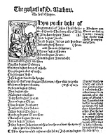 0014311 © Granger - Historical Picture ArchiveGOSPEL OF MATTHEW, 1525.   The first page of William Tyndale's Gospel of St. Matthew from the New Testament printed in Cologne, Germany, 1525.