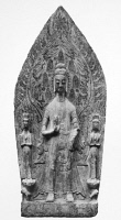 0014580 © Granger - Historical Picture ArchiveCHINA: BUDDHA.   Stone stele of Buddha flanked by two Bodhisattvas. Chinese, Wei Dynasty (5th-6th century).