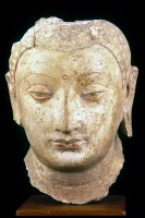 0054947 © Granger - Historical Picture ArchiveBUDDHA, 4th-7th CENTURY.   Polychrome stucco head of Buddha from Chinese Turkestan.