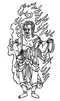 0099349 © Granger - Historical Picture ArchiveBUDDHISM: FUDO.   Japanese Buddhist divinity of wisdom and fire, also known as Acala. Line drawing.