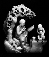 0122469 © Granger - Historical Picture ArchiveCHINA: LOHAN AND MONKEY.   Carved jade figure of a lohan and a monkey in a grotto. Ching Dynasty, late 17th century.