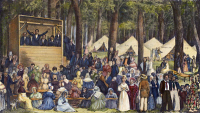 0009775 © Granger - Historical Picture ArchiveMETHODIST CAMP MEETING.   American lithograph, 1837.