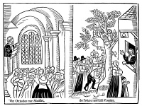 0003396 © Granger - Historical Picture ArchiveCHURCH OF ENGLAND, 1648.   A 'true orthodox minister' preaching in a church (left) contrasted with a 'seducer and false prophet' preaching at a conventicle. Woodcut from the anti-Nonconformist tract, 'A Glasse for the Times,' 1648.