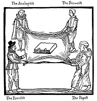 0003995 © Granger - Historical Picture ArchiveCHURCH OF ENGLAND, 1641.   Four Englishmen, each representing a party in opposition to the established Church, are shown fighting over the Bible. Broadside woodcut, English, 1641.