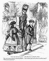 0097045 © Granger - Historical Picture ArchiveATTENDING CHURCH, 1872.   'At the Church-Gate.' English cartoon by George Du Maurier, 1872.