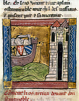 0127467 © Granger - Historical Picture ArchiveFOURTH CRUSADE, 1203.   Crusaders in boats arriving at Constantinople during the Fourth Crusade, 1203. French manuscript illumination, c1300.
