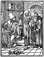0002964 © Granger - Historical Picture ArchiveDANCE OF DEATH, 1545.   'Death and the Physician.' Woodcut by Hans Lützelburger after Hans Holbein the Younger, from the series 'Dance of Death,' Lyons, 1545.