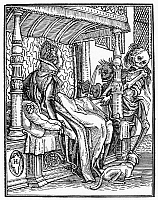 0041688 © Granger - Historical Picture ArchiveDANCE OF DEATH, 1538.   'Death and the Duchess.' Woodcut, French, 1547, after Hans Holbein the Younger from his 'Dance of Death,' published in 1538.